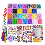 11540+ Loom Rubber Bands Refills Kit Includes - 10750pc Rainbow Rubber Bands in 28 Differentt Colors + 500 Clips + 210 Beads (Include 60 Alphabet Beads) + 54 Lovely Charms + 10 Backpack ......