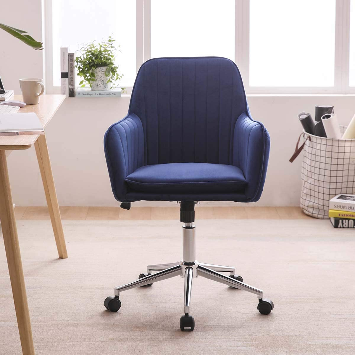 Hironpal Blue Crushed Velvet Fabric Home Office Chair Swivel Height Adjustable Ergonomic Computer Desk Chairs Graceful Reception Chairs Amazon Co Uk Kitchen Home