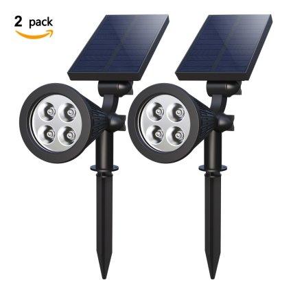 Mulcolor Solar Spotlights, hogan 4-LED Solar Landscape Lights for Backyard Driveway Patio Gardens Lawn Pool