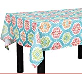 ALL FOR YOU Rectangular Fabric Table Cloth,Rectangle Washable Dinner Picnic Table Cloth with Flower Prints,Assorted Colors- Size 52 in X 70 in (Blue)