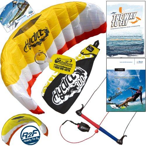 HQ Hydra II 300 V2 Kiteboarding Water Trainer Kite Bundle : Including 'The Way To Fly' Beginner Kitesurfing Instructional DVD + IKO Student Handbook + WindBone Kiteboarding Key Chain