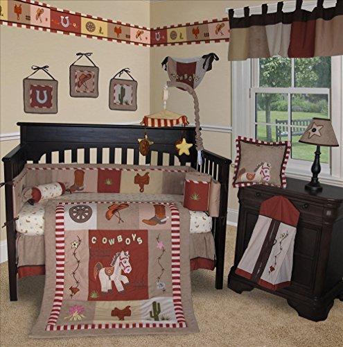 SISI Baby Bedding -Western Cowboy 14 PCS Crib Bedding Set incl. Music Mobile