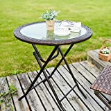 JIWU 26.8' Outdoor Wicker Folding Picnic Table Patio Porch Bistro Outdoor Dining Table with Water Lines Glass