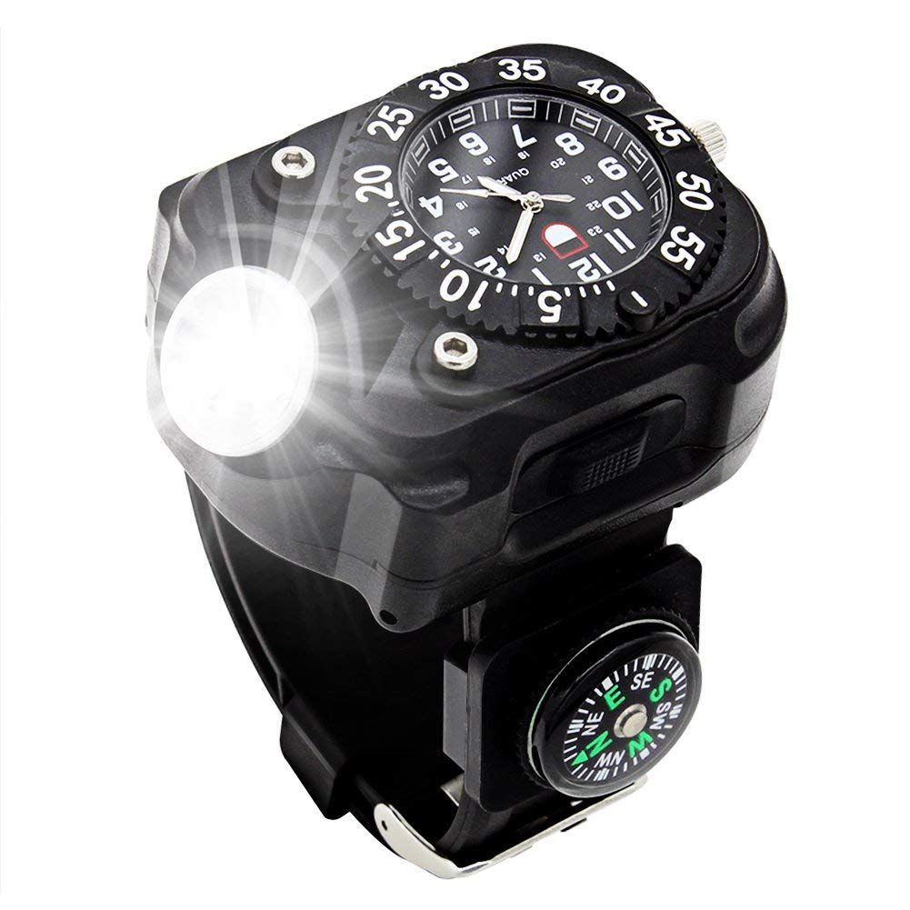 Rechargeable 350 Lumens Led Torch Wrist Light, Waterproof Watch