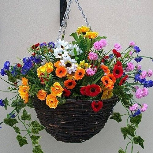 Artificial Flowers Hanging Planter Out Door Mixed Wild Flowers Flowers Basket And Bark Buy Online In Cambodia Eternal Bloom Products In Cambodia See Prices Reviews And Free Delivery Over 27 000 Desertcart