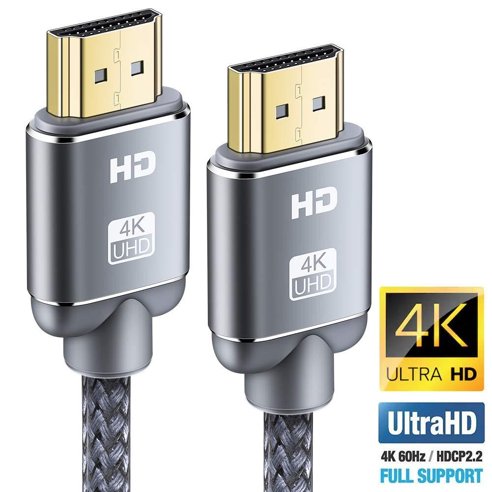 Câble HDMI 4K 0.5m- Snowkids Câble HDMI 2.0 Haute Vitesse par Ethernet en Nylon Tressé Supporte 3D/ Retour Audio - Cordon HDMI pour Lecteur Blu-Ray/ PS3/ PS4/ TV 4K Ultra HD/Ecran