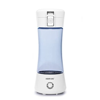 KINGDOMBEAUTY Portable Hydrogen Water Bottle Cup Recharge Hydrogen Rich Water Ionizer Maker Generator Large Capacity Battery Colorful Light Healthy Water Purifier Filter Treatment Blue