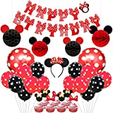 KREATWOW Mickey and Minnie Party Supplies Red and Black Ears Headband Happy Birthday Banner Polka Dot Balloons Set for Minnie Mouse Party Decorations