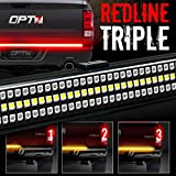 OPT7 48' Redline Triple LED Tailgate Light Bar w/Sequential Amber Turn Signal - 788 LED Solid Beam - Weatherproof No Drill Install - Full Function Reverse Brake Running 2yr Warranty