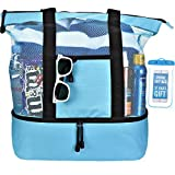 Blue Beach Cooler Bag for Women w Insulated Cooler and Zippered Top - Large