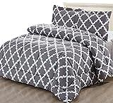 Utopia Bedding Printed Comforter Set (King, Grey) 2 Pillow Shams - Luxurious Soft Brushed Microfiber - Goose Down Alternative Comforter