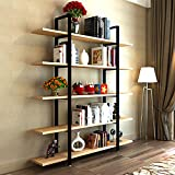 """Product review for Tribesigns 5-Tier Bookshelf, Vintage Industrial Style Bookcase 70 '' H x 12"""" W x 47''L , Light Walnut"""