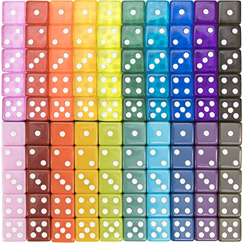 100-pack Translucent & Solid 6-sided Game Dice, 20 Sets of Vintage Colors, 16mm Dice for Board Games and Teaching Math by Brybelly