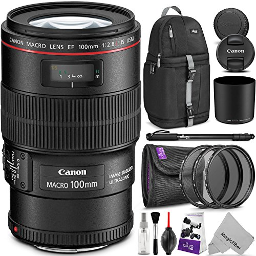 Canon EF 100mm f/2.8L IS USM Macro Lens w/Advanced Photo and Travel Bundle – Includes: Altura Photo Sling Backpack, Monopod, UV-CPL-ND4, Camera Cleaning Set