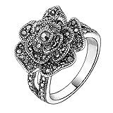 Mytys Retro Vintage 18k White Gold Plated Black Marcasite Flower Crystal Ring(8)