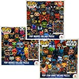 Funko POP! Collage Puzzles (1000 pcs) Star Wars, Marvel & Heroes Gift Set Bundle - 3 Pack