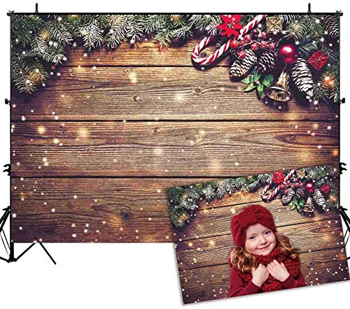 Allenjoy-7X5ft-Christmas-Fabric-Photography-Backdrop-Snowflake-Gold-Glitter-Xmas-Wood-Wall-Rustic-Barn-Vintage-Wooden-Floor-Background-for-Kids-Portrait-Photo-Studio-Booth-Photographer-Props