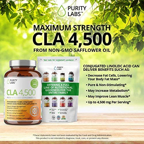Purity Labs CLA 4,500MG Safflower Oil Number One Weight Loss Fat Burner Supplement 180 Softgels Non-GMO & Gluten Free Conjugated Linoleic Acid Pills Belly Fat Burner 10