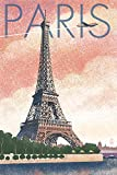 Paris, France - Eiffel Tower and River - Lithograph Style (9x12 Art Print, Wall Decor Travel Poster)