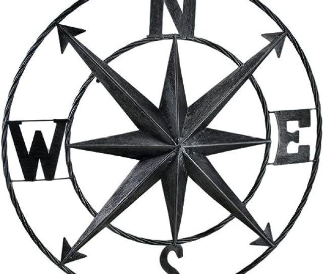 Amazon Com Zeckos Decorative Compass Rose Metal Wall Hanging