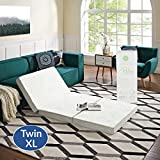 "Modway 4"" Relax Twin XL Tri-Fold Mattress CertiPUR-US Certified with Soft Removable Cover and Non-Slip Bottom (39"" x 80"") - 10-Year Warranty"
