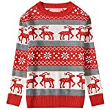 Camii Mia Big Girls' Reindeer Pullover Crewneck Ugly Christmas Sweater (Large (14), Red Grey)