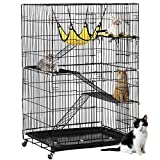 Yaheetech 4-Tier Cat Ferret Cage | Cat Playpen w/2 Front Doors & 3 Ramp Ladders & 3 Resting Platforms & Cat Bed & Locking Casters | Ideal for 1-2 Cats | Cage Measures 32L x 22W x 48H inches