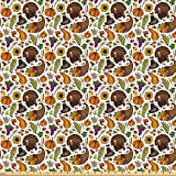 Lunarable Thanksgiving Fabric by The Yard, Boundless Harvest Theme Corn Grapes Pilgrim's Hat Turkey Wheat Food, Microfiber Fabric for Arts and Crafts Textiles Decor, 3 Yards, Brown Orange