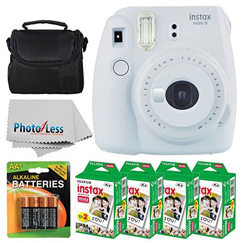 Fujifilm instax mini 9 Instant Film Camera (Smokey White) + Fujifilm Instax Mini Twin Pack Instant Film (80 Shots) + Camera Case + AA Batteries + Accessory Bundle – International Version (No Warranty)