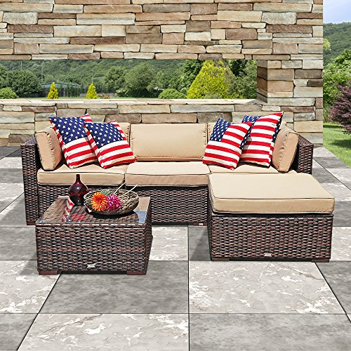 PATIOROMA Outdoor Furniture Sectional Sofa Set (5-Piece Set) All-Weather  Brown PE Wicker with Beige Seat Cushions &Glass Coffee Table  Patio, ...
