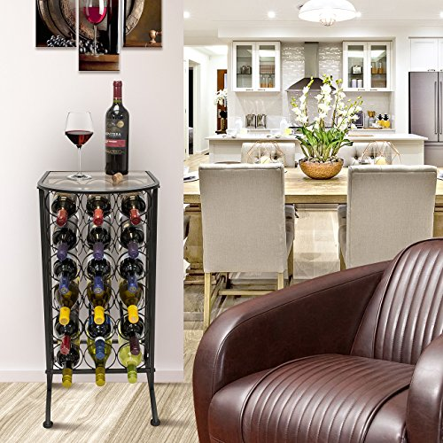 Sorbus Wine Rack Stand Bordeaux Chateau Style with Glass Table Top - Holds 18 Bottles of Your Favorite Wine - Elegant Looking French Style Wine Rack to Compliment Any Space - (Wine Stand - 18 Bottles)