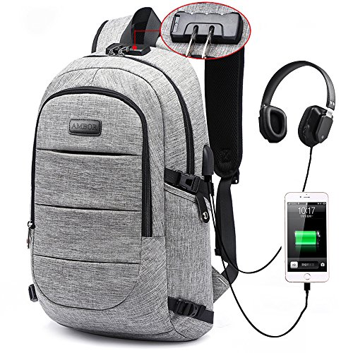 bb89005eadc Laptop Backpack, Business Anti Theft Waterproof Travel Backpack with USB  Charging Port   Headphone interface for College