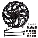 14' Electric Radiator Cooling Fan Assembly Kit 1750 CFM Universal Slim Engine Fan Mounting Kit Reversible 12V 90W (Diameter 13.82' Depth 2.56')