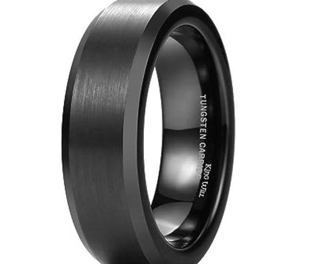 King Will Basic Mm Black Tungsten Wedding Band Ring Matte Finish Center Beveled Polished Edge