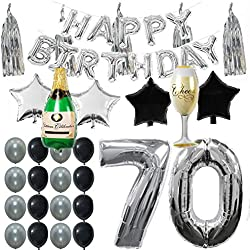 70th B Day Party Supplies Decorations Kit Pack Silver