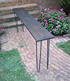 Product review for Beautiful dark walnut poplar console table sofa table with raw steel hairpin legs