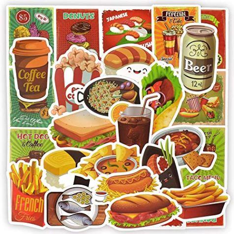 50pcs-Waterproof-Food-Vinyl-Stickers-Bomb-Laptops-Water-Bottle-Fridge-Home-Decor-Toys-for-Kids-Food