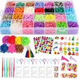 17,000+ Mega Refill Loom Set for Kids Bracelet Weaving DIY Crafting Kit with Rainbow Rubber Bands,24 Charms,175 Beads,600 Clips,12 Backpack Hooks,Organizer Case w/ Handle by STSTECH