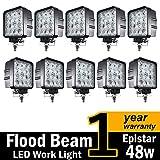 (Pack of 10) TMH 48w Square Shape 60 Degree LED Work Light Flood Lamp Driving Light, Jeep, Off-road, 4wd, 4x4, Utv, Sand Rail, Atv, Suv, Motorbike, Motorcycle, Bike, Dirt Bike, Bus, Trailer, Truck