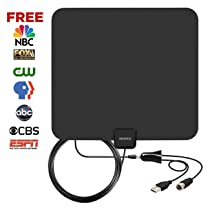 TV Antenna,Viewtek Amplified HDTV Antenna 60+ mile range with amplifier singal booster,USB Power supply and 13ft coax cabl(Full HD, 4K ready)