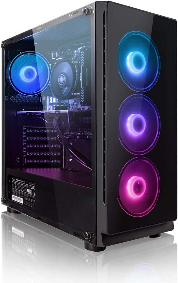 Megaport PC Gamer Platin AMD Ryzen 5 2600 6x 3,40 GHz • GeForce GTX1660 6Go • 16Go DDR4 • 240Go SSD • 1To • Windows 10 • WiFi • USB3.0 Unité centrale ordinateur de bureau PC gaming PC ordinateur gamer