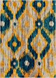 Well Woven Global Bohemian Ikat Blue & Yellow Vibrant Modern Tribal Pattern 5x7 (5'3' x 7'3') Area Rug Contemporary Thick Soft Plush