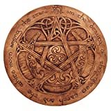 Dryad Design Large Moon Pentacle Plaque in Wood Finish