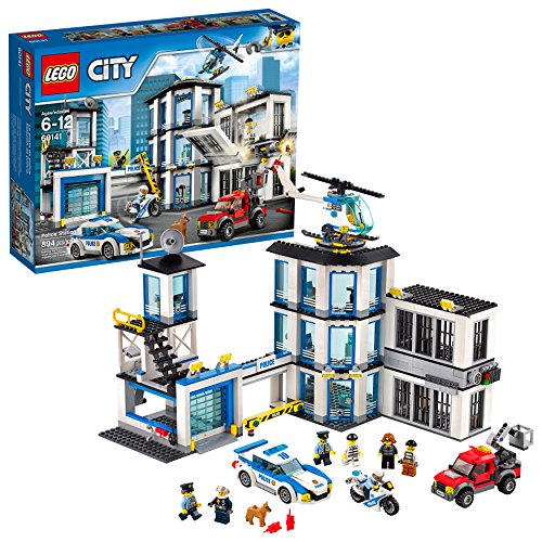LEGO-City-Police-Station-60141-Building-Kit-with-Cop-Car-Jail-Cell-and-Helicopter-Top-Toy-and-Play-Set-for-Boys-and-Girls-894-Pieces-Discontinued-by-Manufacturer