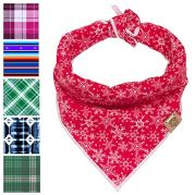 BarkBarkGoose-Medium-Red-Flannel-Valentines-Day-Dog-Bandana-with-White-Snowflakes