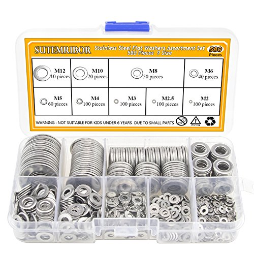 Sutemribor-304-Stainless-Steel-Flat-Washers-Set-580-Pieces-9-Sizes-M2-M25-M3-M4-M5-M6-M8-M10-M12