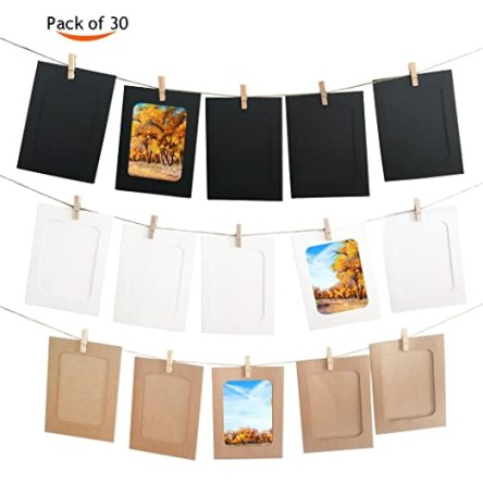 4.5''x6'' DIY Paper Photo Frame Wall Deco with Mini Clothespins and String (3 Colors, 30Pcs)