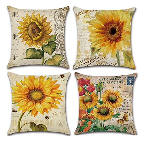 KACOPOL Vintage Oil Painting Sunflower Pillow Covers Home Decor Cotton Linen Throw Pillow Cases Cushion Cover for Sofa Couch Bed Car Square 18x18 Inches  Set of 4 (Sunflowers)