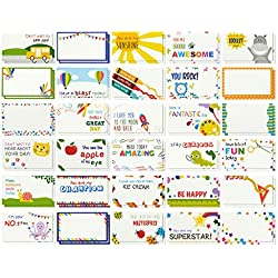 Pack of 60 Lunch Box Notes - Colorful Inspirational and Motivational Cards for Kids, 2 x 3.7 Inches