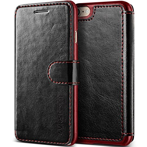 VRS Design Case for Apple iPhone 7 (4.7″ Inch) Layered Dandy Genuine Classic Leather Wallet Finish Black Wine Color